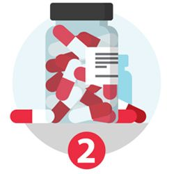 Illustration of pills and a medicine bottle and the number 2.