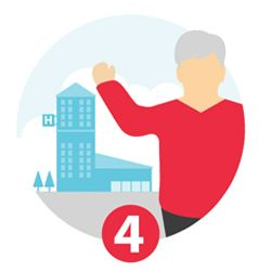 Illustration of a person outside a hospital and the number 4.