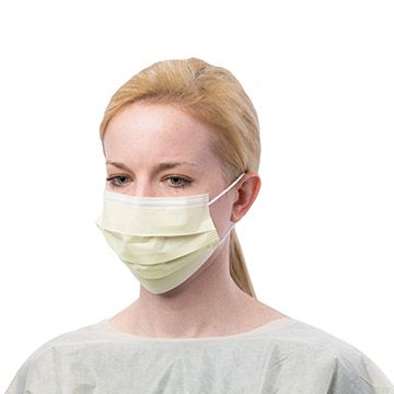 Lady wearing mouth mask.
