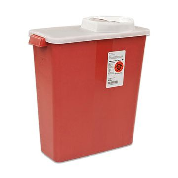 Sharps Container with Rotor Opening and Hinged Lid.