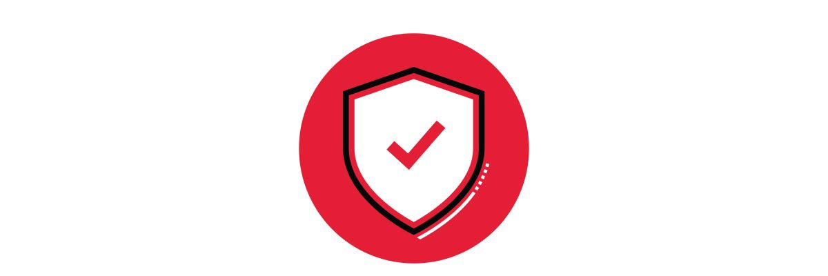 Icon illustration of a white shield with a red check mark in a red circle.