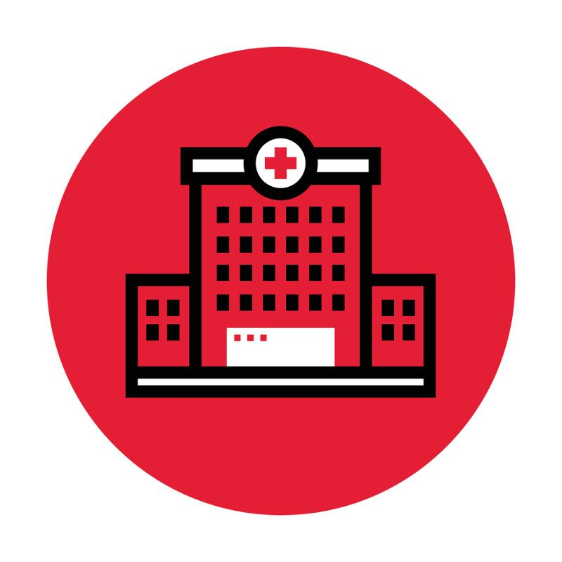 Icon illustration of a hospital.