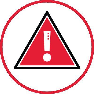 Icon illustration of a caution symbol.
