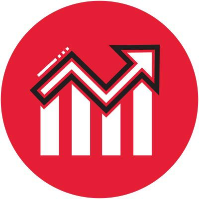 icon of a graph in a red circle.