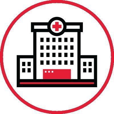 Icon illustration of a hospital.