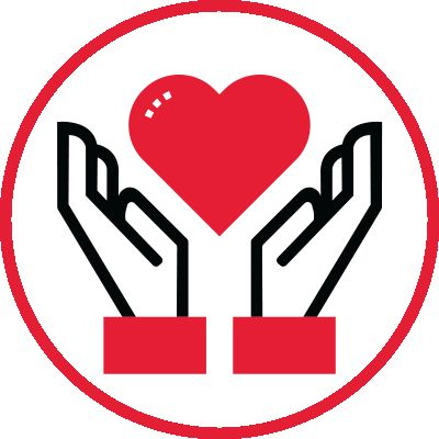 Icon illustration of hands outstretched with a heart.