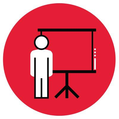 Icon illustration of a presentation.