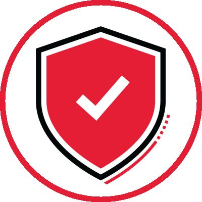 Icon illustration of a shield with a checkmark.
