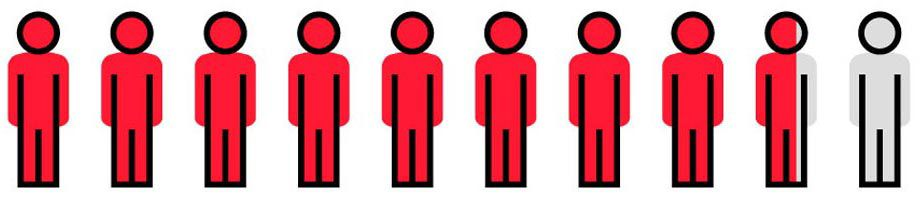Icon illustration of red and grey people.