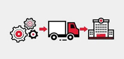 Icon illustration of gears a truck and a hospital.