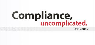 Logo reading Compliance, uncomplicated. USP<800>.